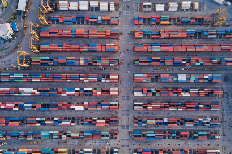 Aerial top view of container cargo ship in the export and import business and logistics