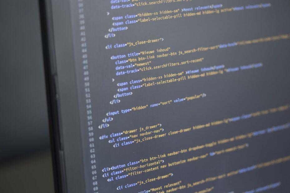 Code on computer screen programming software