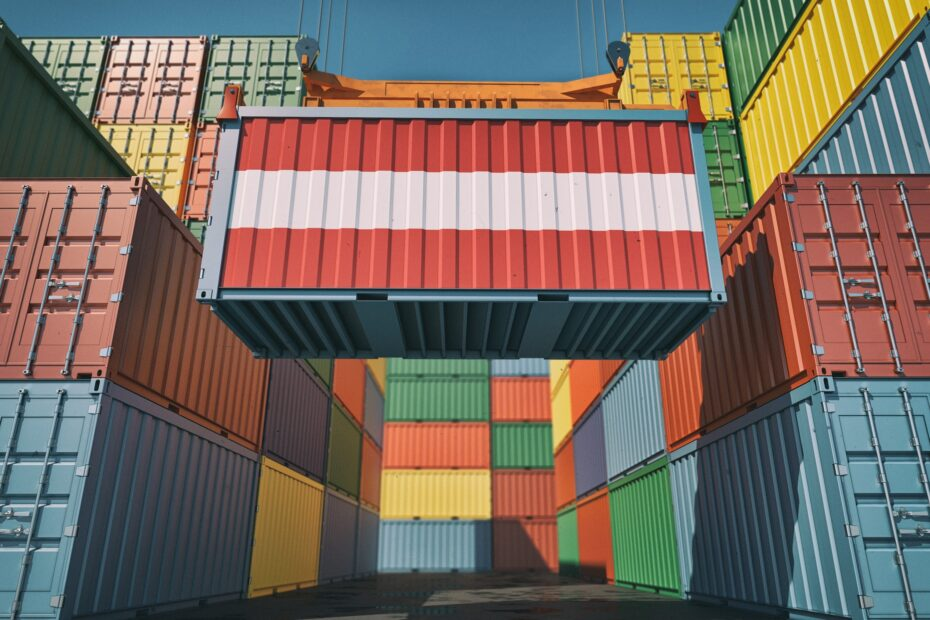 Container Terminal - Shipping Container with Austria flag.