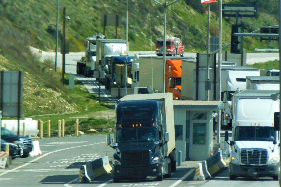 Transportation and Logistics! Trucks on a busy highway in the Truck Scales Weigh Station.